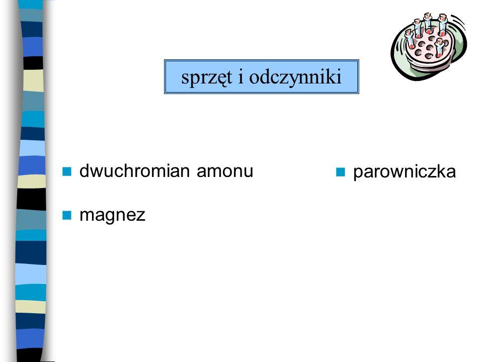 dwuchromian amonu magnez parowniczka sprzęt i odczynniki