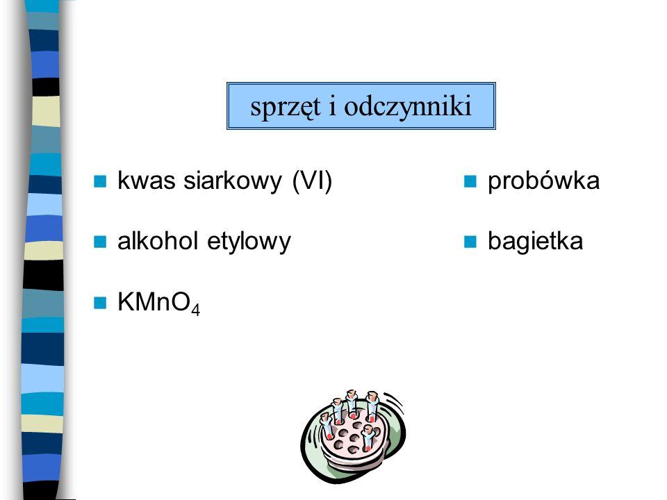 kwas siarkowy (VI) alkohol etylowy KMnO 4 probówka bagietka sprzęt i odczynniki