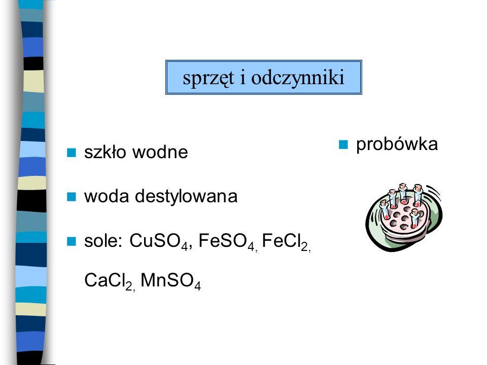 szkło wodne woda destylowana sole: CuSO 4, FeSO 4, FeCl 2, CaCl 2, MnSO 4 probówka sprzęt i odczynniki
