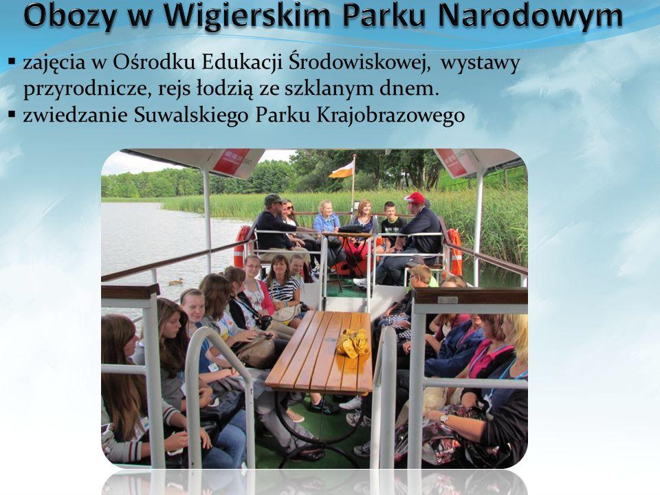 zajęcia w Ośrodku Edukacji Środowiskowej, wystawy przyrodnicze, rejs łodzią ze szklanym dnem. zwiedzanie Suwalskiego Parku Krajobrazowego