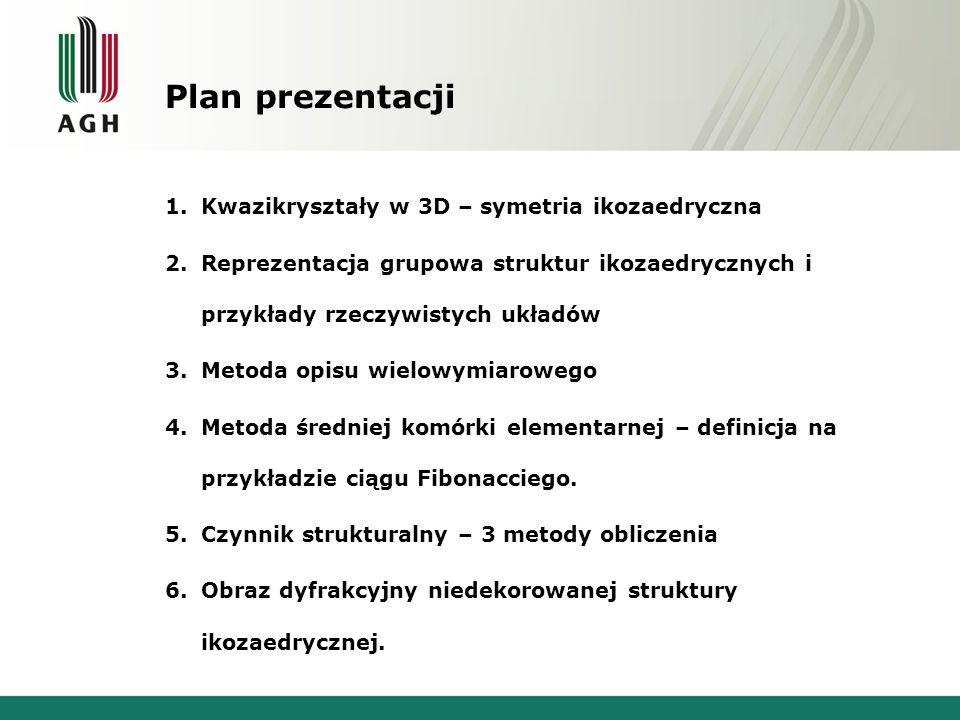 Plan prezentacji 1.Kwazikryształy w 3D – symetria ikozaedryczna 2.Reprezentacja grupowa struktur ikozaedrycznych i przykłady rzeczywistych układów 3.M