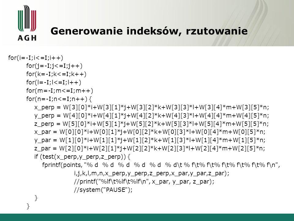 Generowanie indeksów, rzutowanie for(i=-I;i<=I;i++) for(j=-I;j<=I;j++) for(k=-I;k<=I;k++) for(l=-I;l<=I;l++) for(m=-I;m<=I;m++) for(n=-I;n<=I;n++) { x