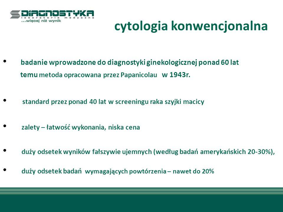 cytologia konwencjonalna badanie wprowadzone do diagnostyki ginekologicznej ponad 60 lat temu metoda opracowana przez Papanicolau w 1943r. standard pr