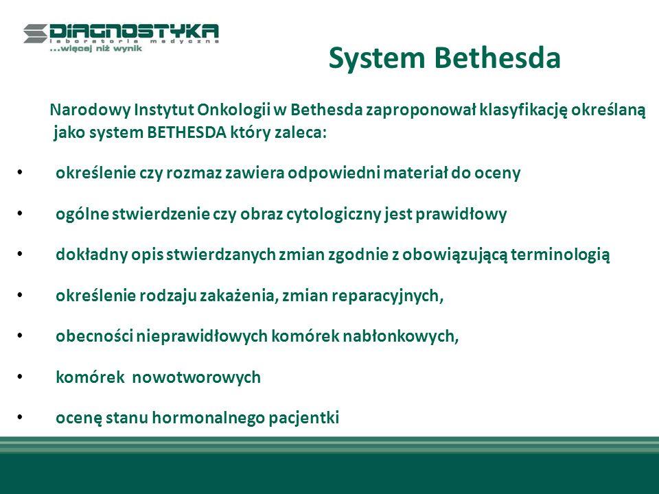 System Bethesda Narodowy Instytut Onkologii w Bethesda zaproponował klasyfikację określaną jako system BETHESDA który zaleca: określenie czy rozmaz zawiera odpowiedni materiał do oceny ogólne stwierdzenie czy obraz cytologiczny jest prawidłowy dokładny opis stwierdzanych zmian zgodnie z obowiązującą terminologią określenie rodzaju zakażenia, zmian reparacyjnych, obecności nieprawidłowych komórek nabłonkowych, komórek nowotworowych ocenę stanu hormonalnego pacjentki