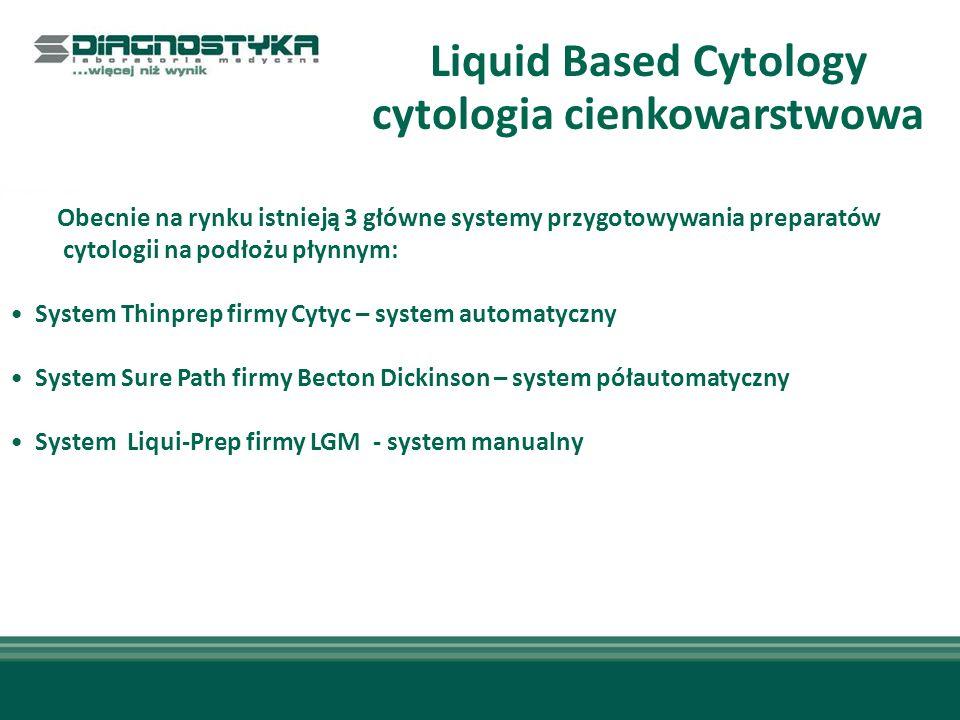 Liquid Based Cytology cytologia cienkowarstwowa Zalety metody LBC Sure Path: duże ułatwienie dla cytologów – łatwość analizy preparatów znaczna redukcja ilości preparatów nie nadających się do oceny – według badań o 90% wg badań - wzrost wykrywalności śródnabłonkowych zmian dysplastycznych dużego stopnia o 64% (dane z 15 badań przeprowadzonych w latach 1998 – 2005) możliwość wykonania kilku badań z jednego pobrania – HPV, Chlamydia – metodami PCR decyzja do 14 dni od pobrania - brak konieczności powtórnego pobrania wymazu Szczególnie ważne, dlatego że daje to możliwość dostarczenia materiału do badań z tego samego pobrania – unika się w ten sposób możliwości, że badanie – np.