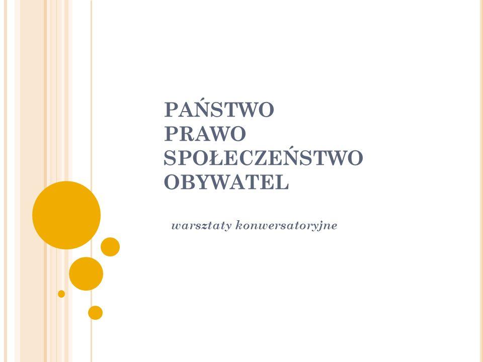 PAŃSTWO PRAWO SPOŁECZEŃSTWO OBYWATEL warsztaty konwersatoryjne