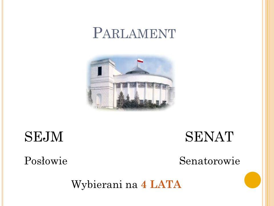 P ARLAMENT SEJM SENAT Posłowie Senatorowie Wybierani na 4 LATA