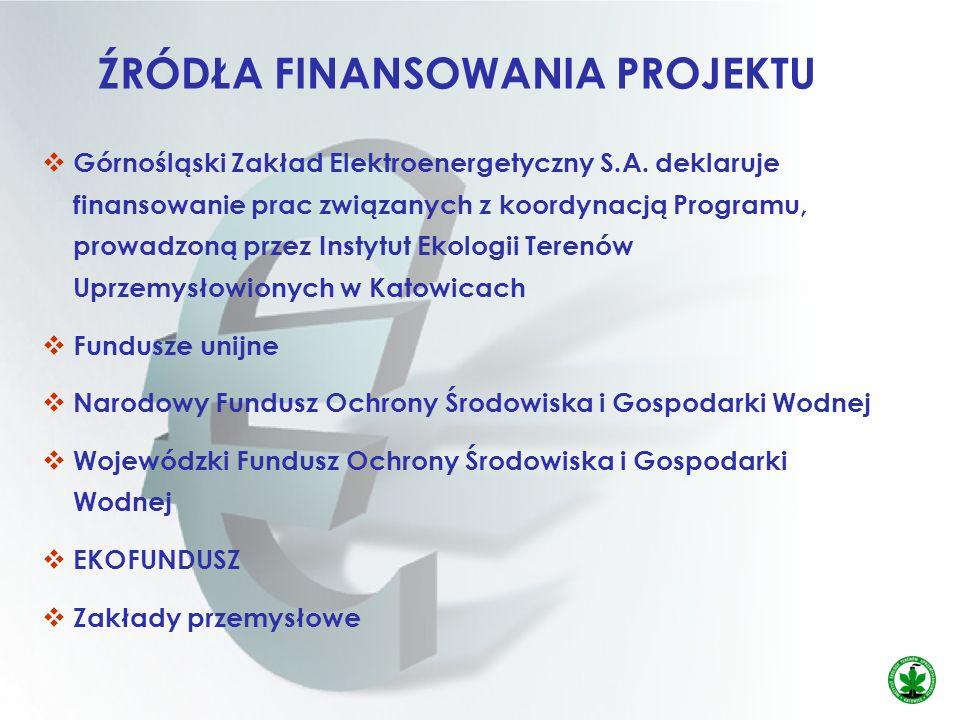 ŹRÓDŁA FINANSOWANIA PROJEKTU Górnośląski Zakład Elektroenergetyczny S.A. deklaruje finansowanie prac związanych z koordynacją Programu, prowadzoną prz
