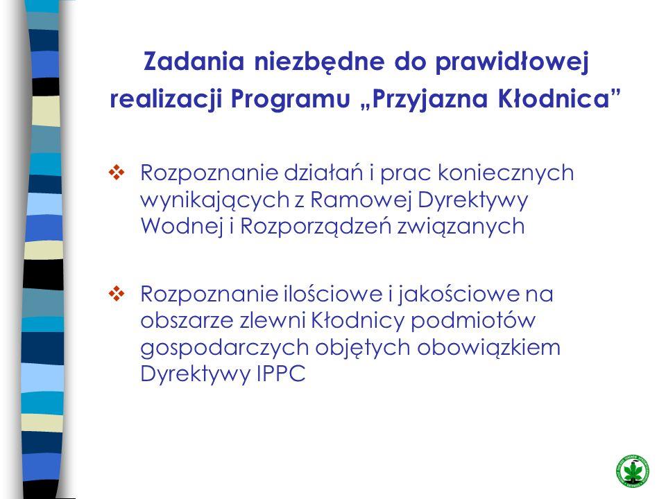 Zadania niezbędne do prawidłowej realizacji Programu Przyjazna Kłodnica Rozpoznanie działań i prac koniecznych wynikających z Ramowej Dyrektywy Wodnej