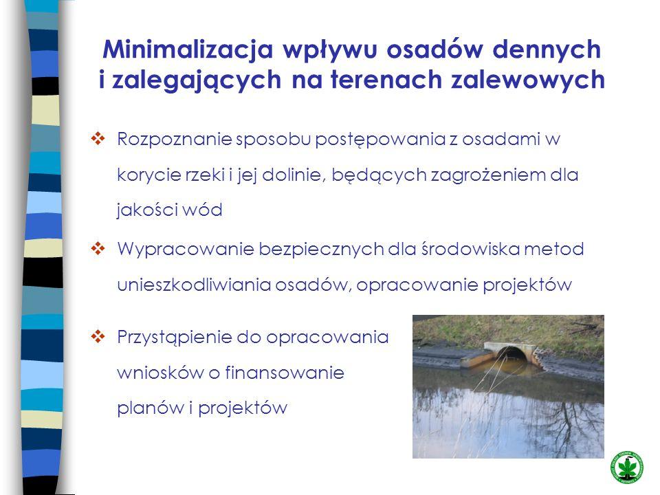 Minimalizacja wpływu osadów dennych i zalegających na terenach zalewowych Rozpoznanie sposobu postępowania z osadami w korycie rzeki i jej dolinie, bę
