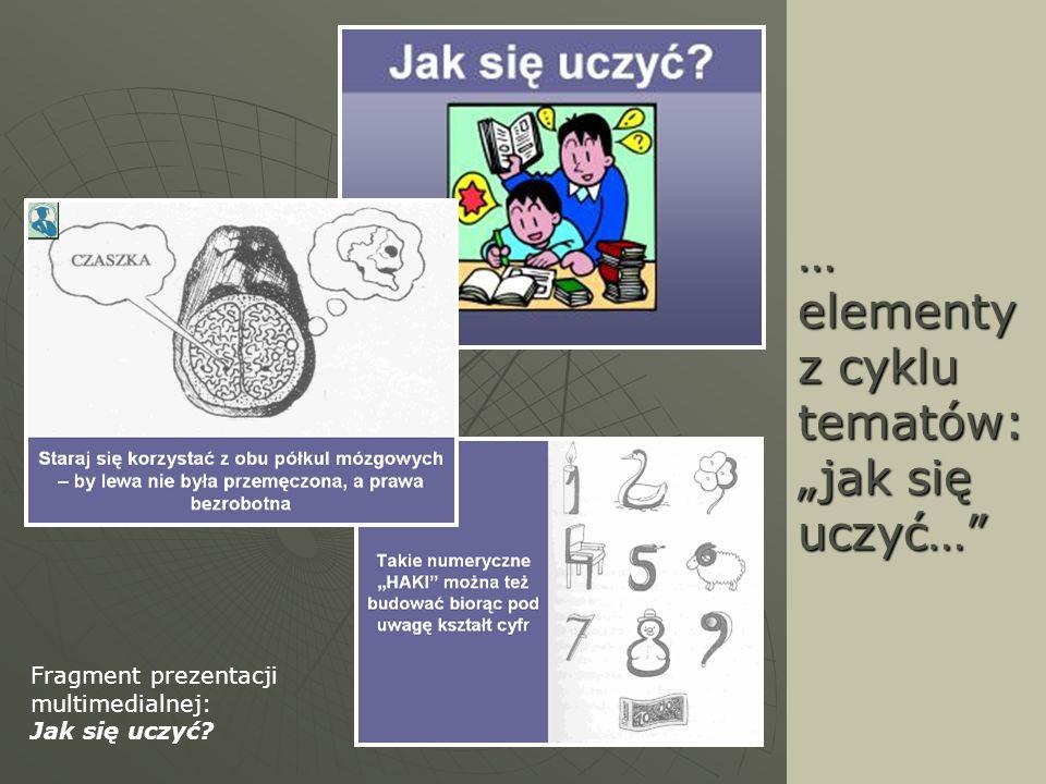 … elementy z cyklu tematów: jak się uczyć… Fragment prezentacji multimedialnej: Jak się uczyć?