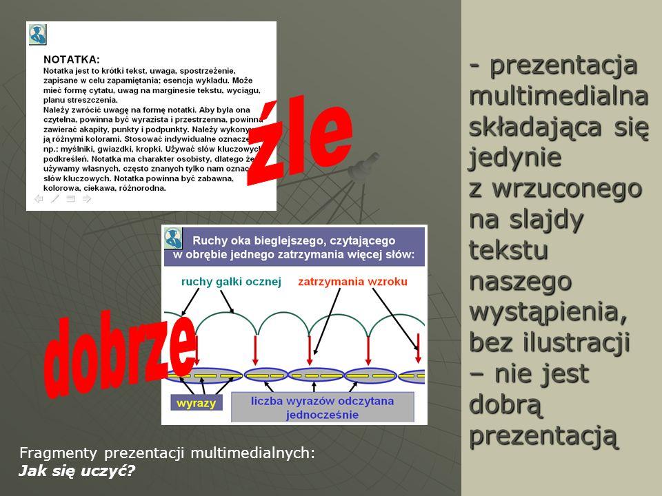 - prezentacja multimedialna składająca się jedynie z wrzuconego na slajdy tekstu naszego wystąpienia, bez ilustracji – nie jest dobrą prezentacją Frag