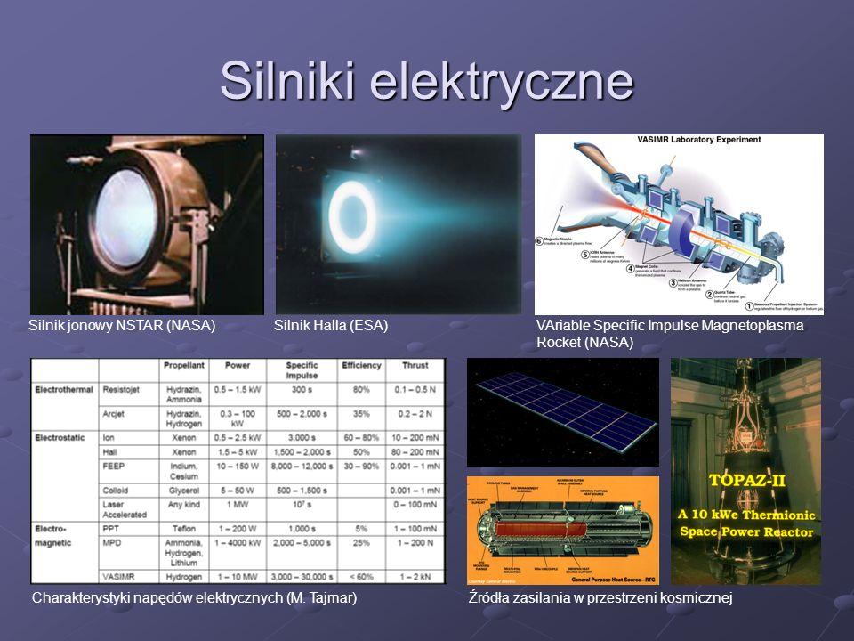 Silniki elektryczne VAriable Specific Impulse Magnetoplasma Rocket (NASA) Silnik jonowy NSTAR (NASA)Silnik Halla (ESA) Źródła zasilania w przestrzeni