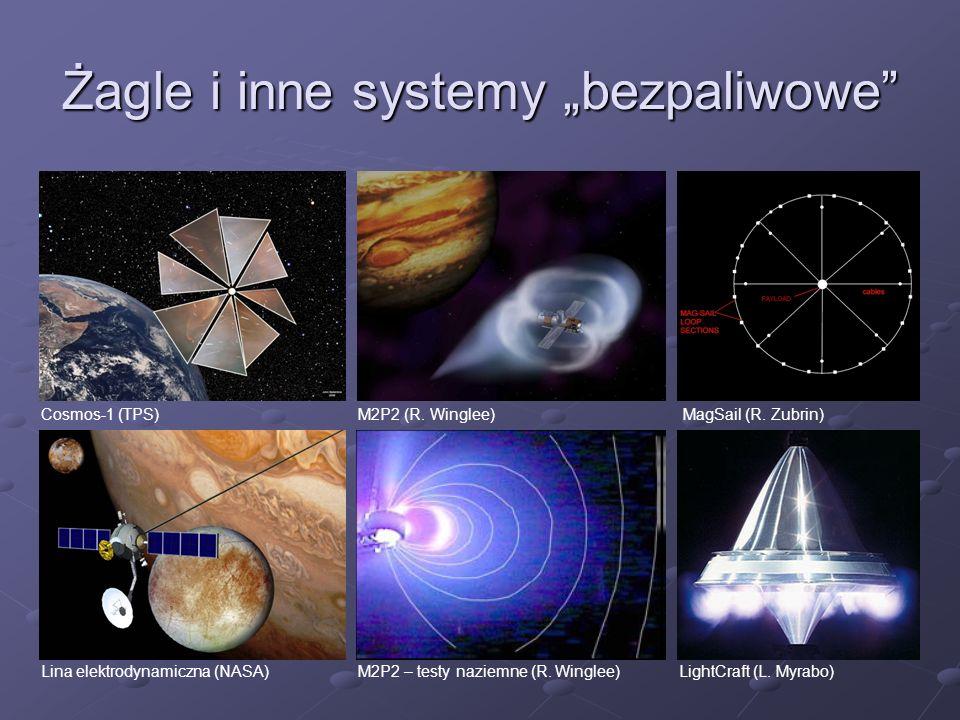 Żagle i inne systemy bezpaliwowe Cosmos-1 (TPS) M2P2 – testy naziemne (R. Winglee)Lina elektrodynamiczna (NASA) MagSail (R. Zubrin)M2P2 (R. Winglee) L