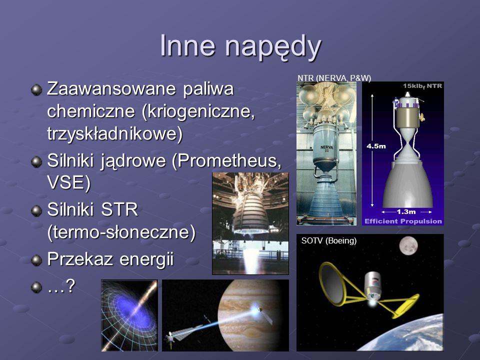Inne napędy Zaawansowane paliwa chemiczne (kriogeniczne, trzyskładnikowe) Silniki jądrowe (Prometheus, VSE) Silniki STR (termo-słoneczne) Przekaz ener