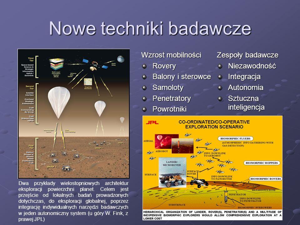Nowe techniki badawcze Wzrost mobilności Rovery Balony i sterowce SamolotyPenetratoryPowrotniki Dwa przykłady wielostopniowych architektur eksploracji