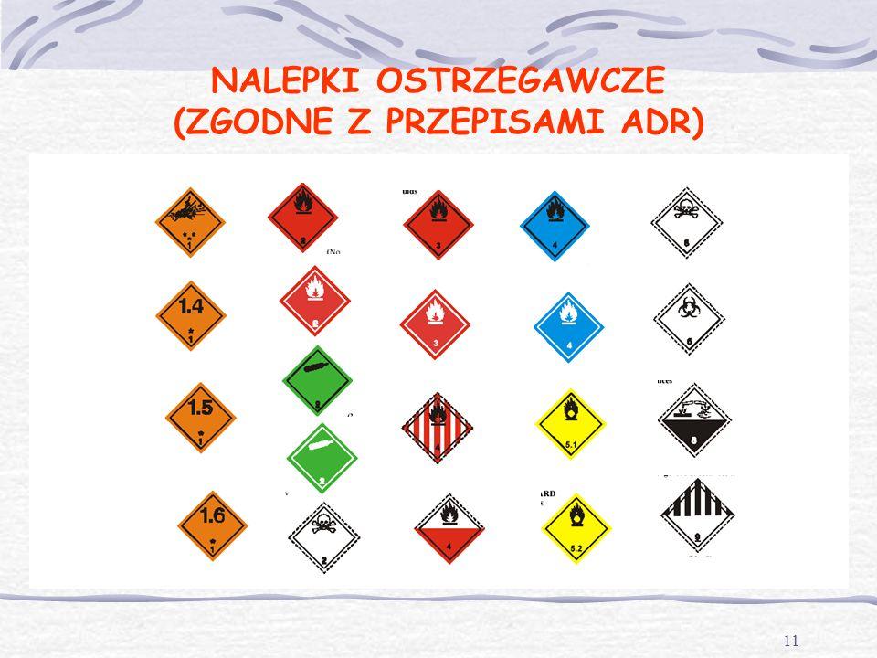 10 MATERIAŁY NIEBEZPIECZNE według UMOWY ADR Zgodnie z postanowieniami Umowy ADR, materiały niebezpieczne to takie materiały i przedmioty, których prze