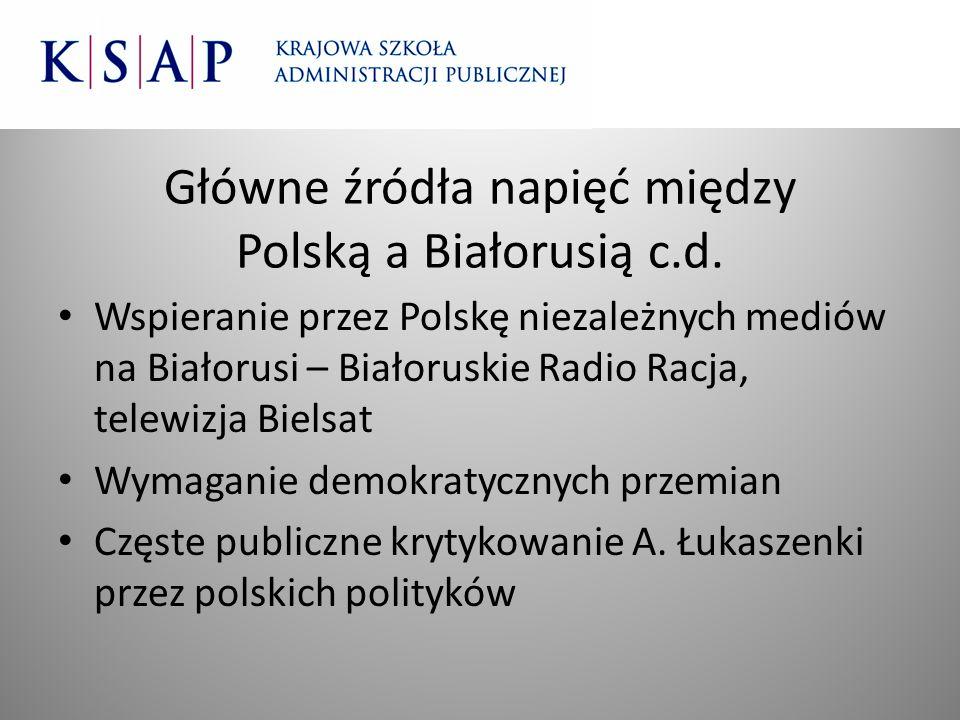 Główne źródła napięć między Polską a Białorusią c.d. Wspieranie przez Polskę niezależnych mediów na Białorusi – Białoruskie Radio Racja, telewizja Bie