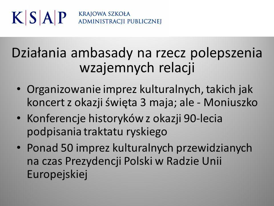 Działania ambasady na rzecz polepszenia wzajemnych relacji Organizowanie imprez kulturalnych, takich jak koncert z okazji święta 3 maja; ale - Moniusz
