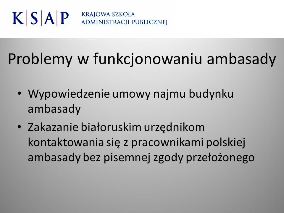 Problemy w funkcjonowaniu ambasady Wypowiedzenie umowy najmu budynku ambasady Zakazanie białoruskim urzędnikom kontaktowania się z pracownikami polski