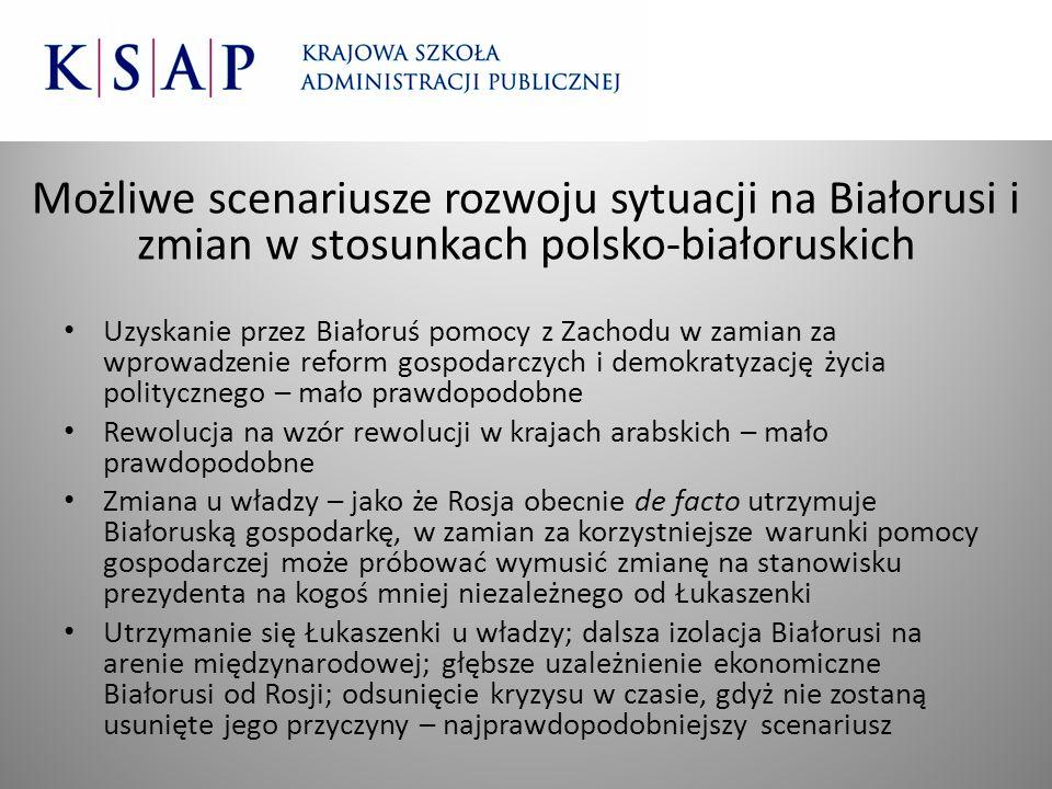 Możliwe scenariusze rozwoju sytuacji na Białorusi i zmian w stosunkach polsko-białoruskich Uzyskanie przez Białoruś pomocy z Zachodu w zamian za wprow