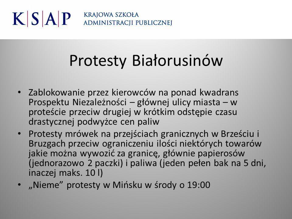 Protesty Białorusinów Zablokowanie przez kierowców na ponad kwadrans Prospektu Niezależności – głównej ulicy miasta – w proteście przeciw drugiej w kr