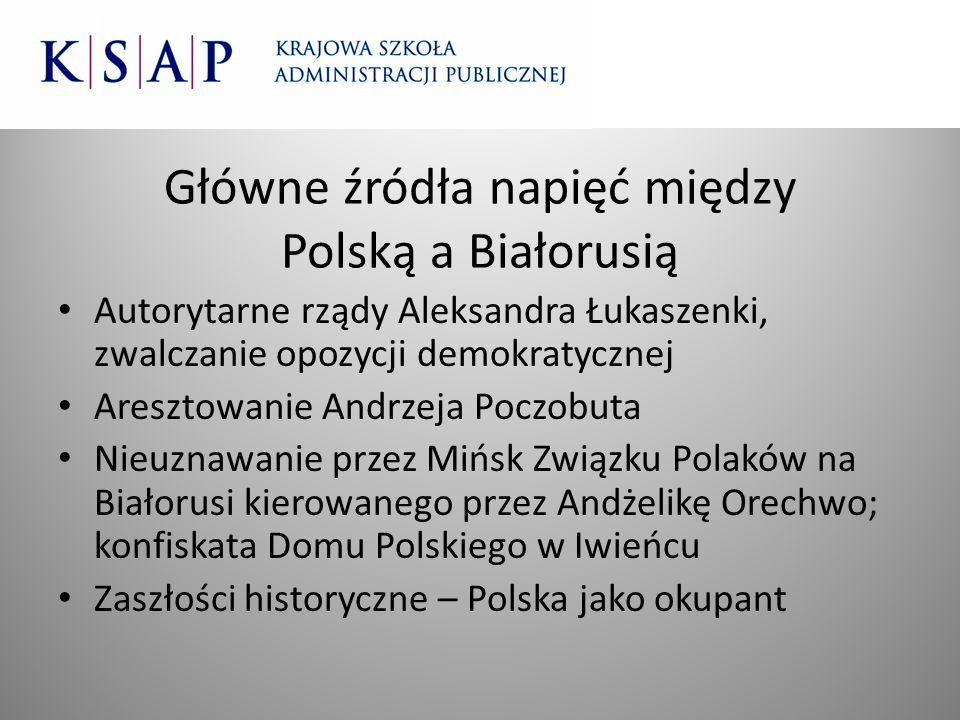 Główne źródła napięć między Polską a Białorusią Autorytarne rządy Aleksandra Łukaszenki, zwalczanie opozycji demokratycznej Aresztowanie Andrzeja Pocz