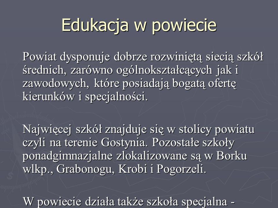 Edukacja w powiecie Powiat dysponuje dobrze rozwiniętą siecią szkół średnich, zarówno ogólnokształcących jak i zawodowych, które posiadają bogatą ofer
