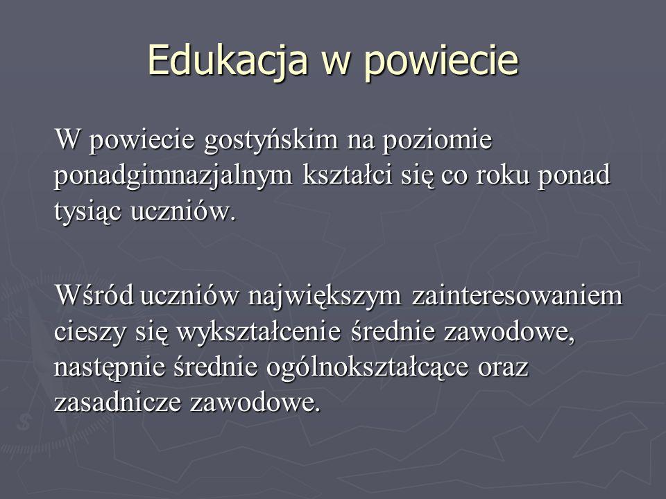 Edukacja w powiecie W powiecie gostyńskim na poziomie ponadgimnazjalnym kształci się co roku ponad tysiąc uczniów. Wśród uczniów największym zainteres