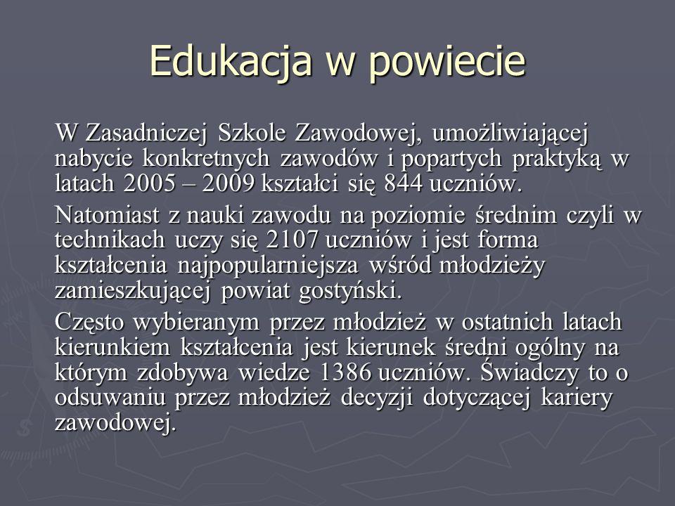 Edukacja w powiecie W Zasadniczej Szkole Zawodowej, umożliwiającej nabycie konkretnych zawodów i popartych praktyką w latach 2005 – 2009 kształci się