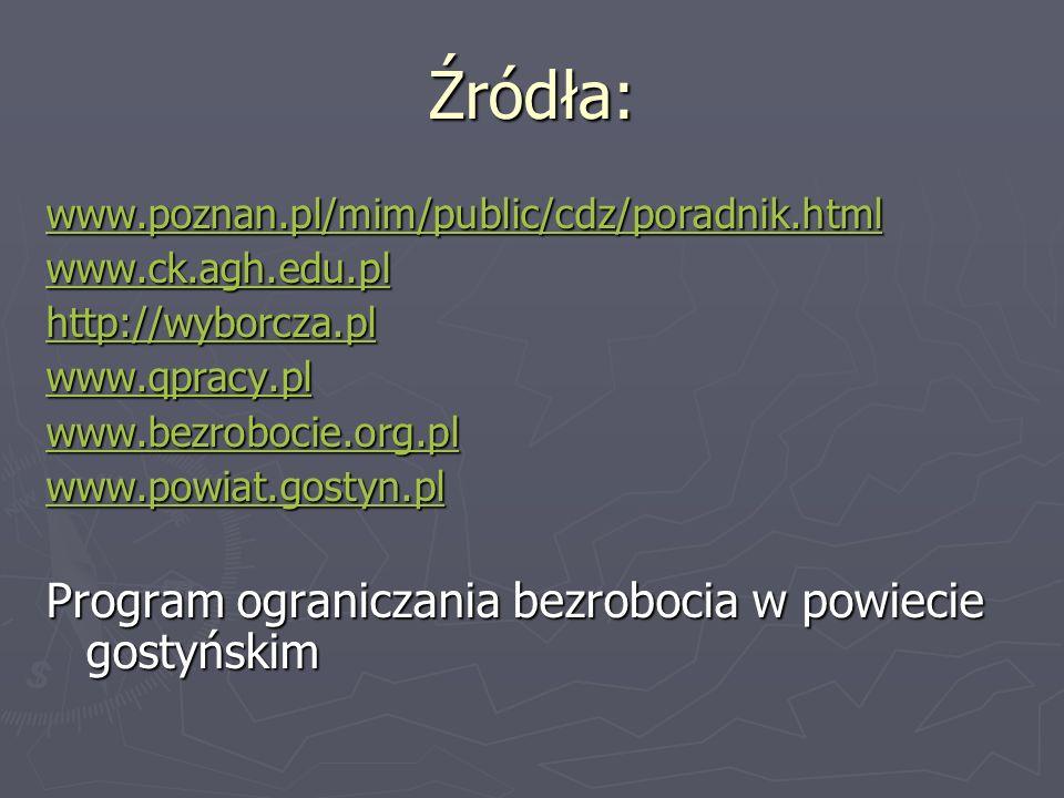 Źródła: www.poznan.pl/mim/public/cdz/poradnik.html www.ck.agh.edu.pl http://wyborcza.pl www.qpracy.pl www.bezrobocie.org.pl www.powiat.gostyn.pl Progr