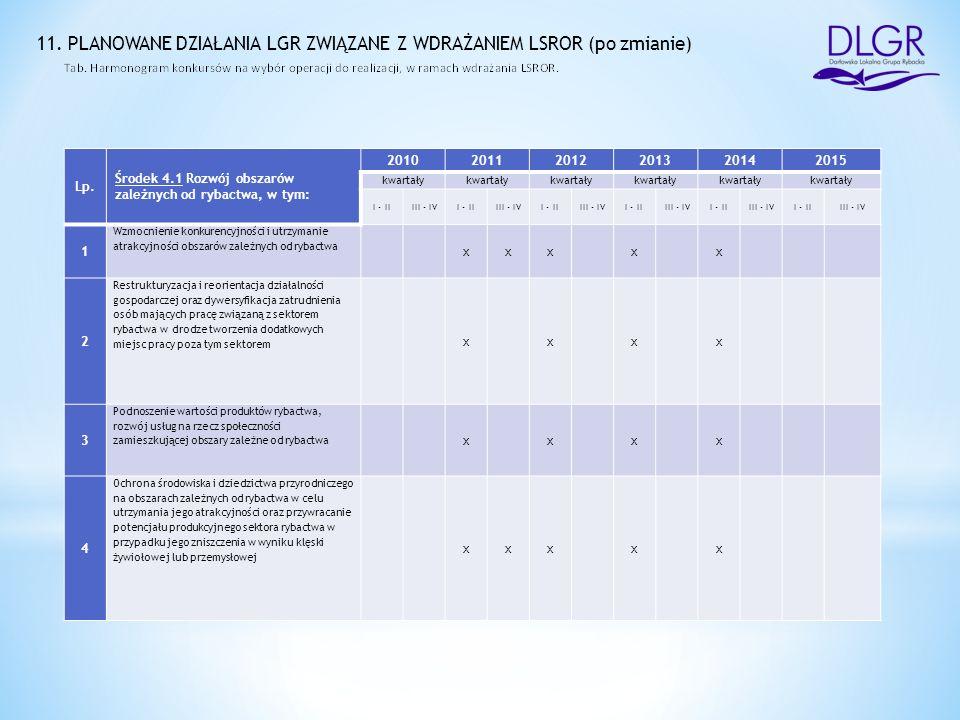 11. PLANOWANE DZIAŁANIA LGR ZWIĄZANE Z WDRAŻANIEM LSROR (po zmianie) Lp.