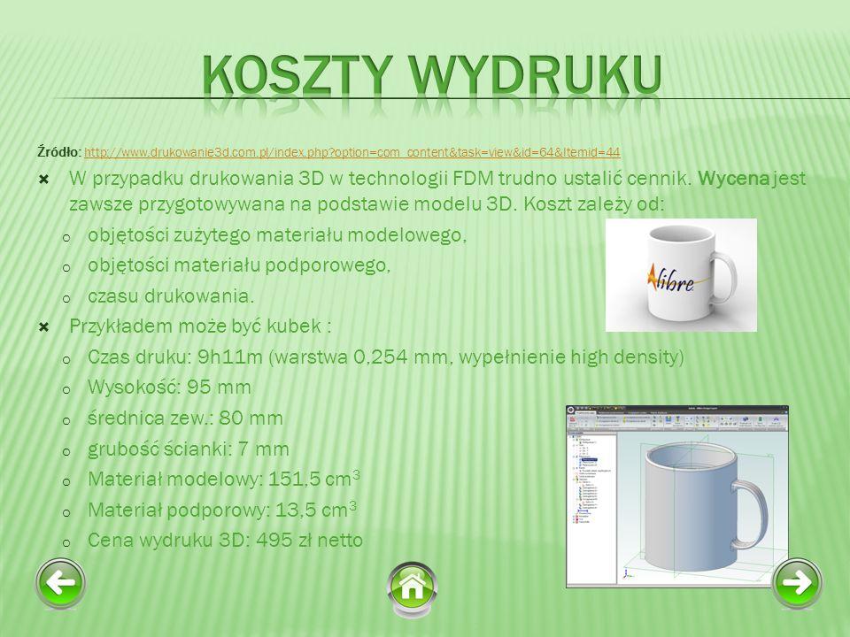 Źródło: http://www.drukowanie3d.com.pl/index.php?option=com_content&task=view&id=64&Itemid=44 http://www.drukowanie3d.com.pl/index.php?option=com_content&task=view&id=64&Itemid=44 W przypadku drukowania 3D w technologii FDM trudno ustalić cennik.