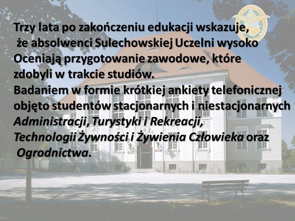 Trzy lata po zakończeniu edukacji wskazuje, że absolwenci Sulechowskiej Uczelni wysoko że absolwenci Sulechowskiej Uczelni wysoko Oceniają przygotowan