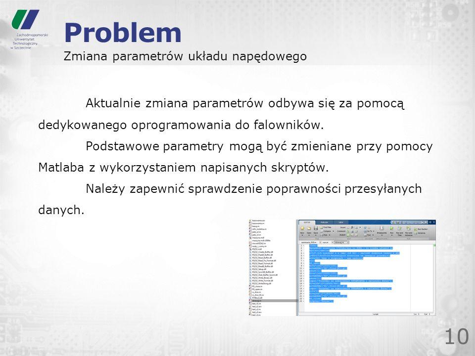 Problem 10 Zmiana parametrów układu napędowego Aktualnie zmiana parametrów odbywa się za pomocą dedykowanego oprogramowania do falowników. Podstawowe