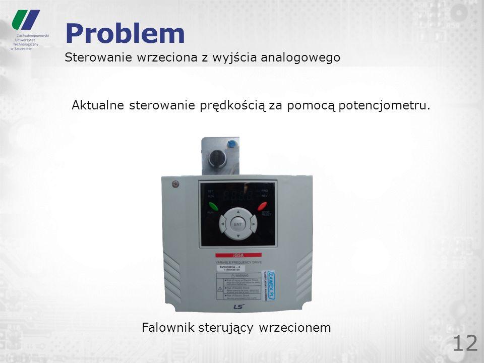 Problem 12 Sterowanie wrzeciona z wyjścia analogowego Falownik sterujący wrzecionem Aktualne sterowanie prędkością za pomocą potencjometru.