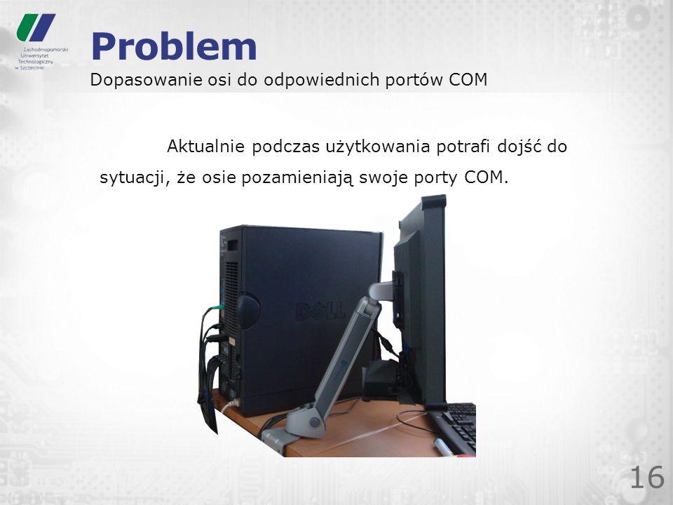 Problem 16 Dopasowanie osi do odpowiednich portów COM Aktualnie podczas użytkowania potrafi dojść do sytuacji, że osie pozamieniają swoje porty COM.