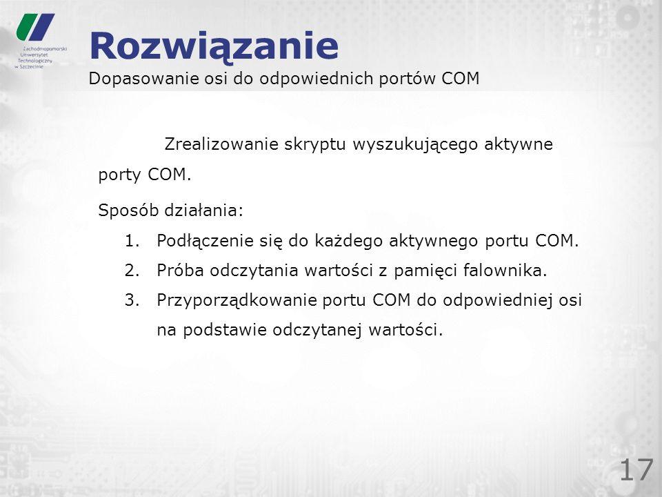Rozwiązanie 17 Dopasowanie osi do odpowiednich portów COM Zrealizowanie skryptu wyszukującego aktywne porty COM. Sposób działania: 1.Podłączenie się d
