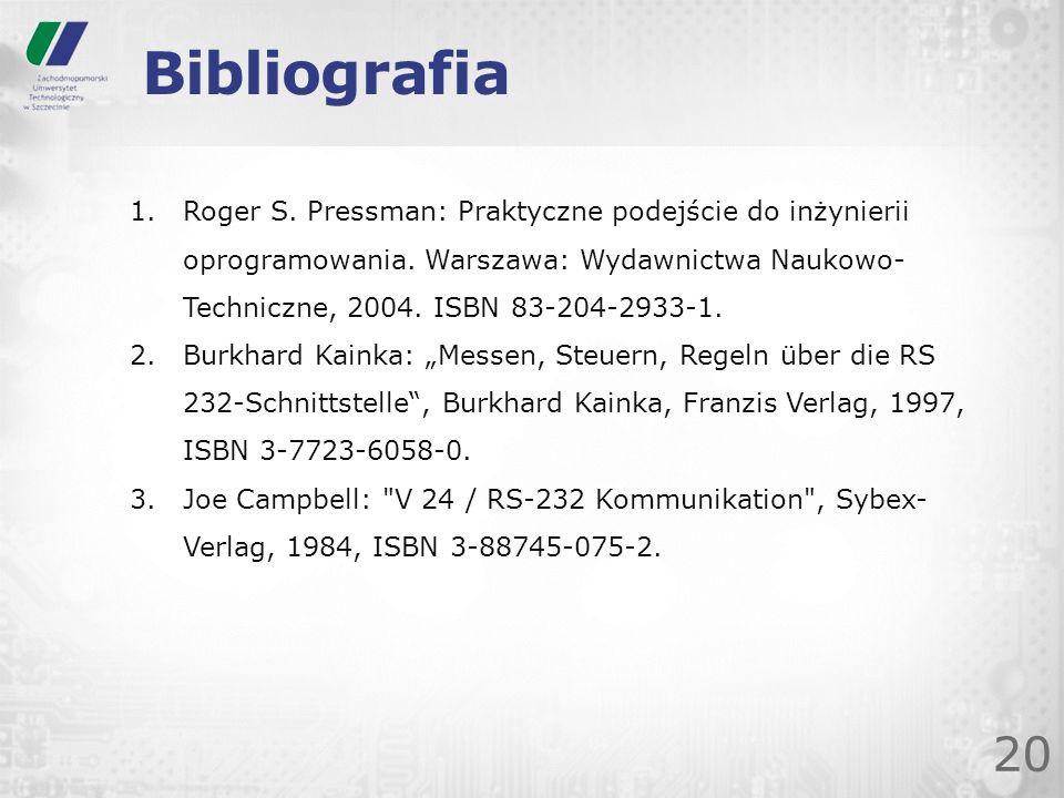 Bibliografia 20 1.Roger S. Pressman: Praktyczne podejście do inżynierii oprogramowania. Warszawa: Wydawnictwa Naukowo- Techniczne, 2004. ISBN 83-204-2