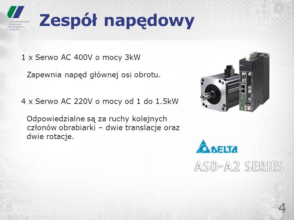 Zespół napędowy 4 1 x Serwo AC 400V o mocy 3kW Zapewnia napęd głównej osi obrotu. 4 x Serwo AC 220V o mocy od 1 do 1.5kW Odpowiedzialne są za ruchy ko