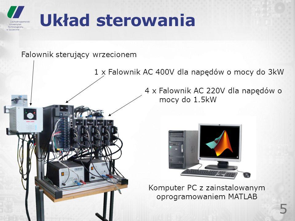 Układ sterowania 5 1 x Falownik AC 400V dla napędów o mocy do 3kW 4 x Falownik AC 220V dla napędów o mocy do 1.5kW Falownik sterujący wrzecionem Kompu