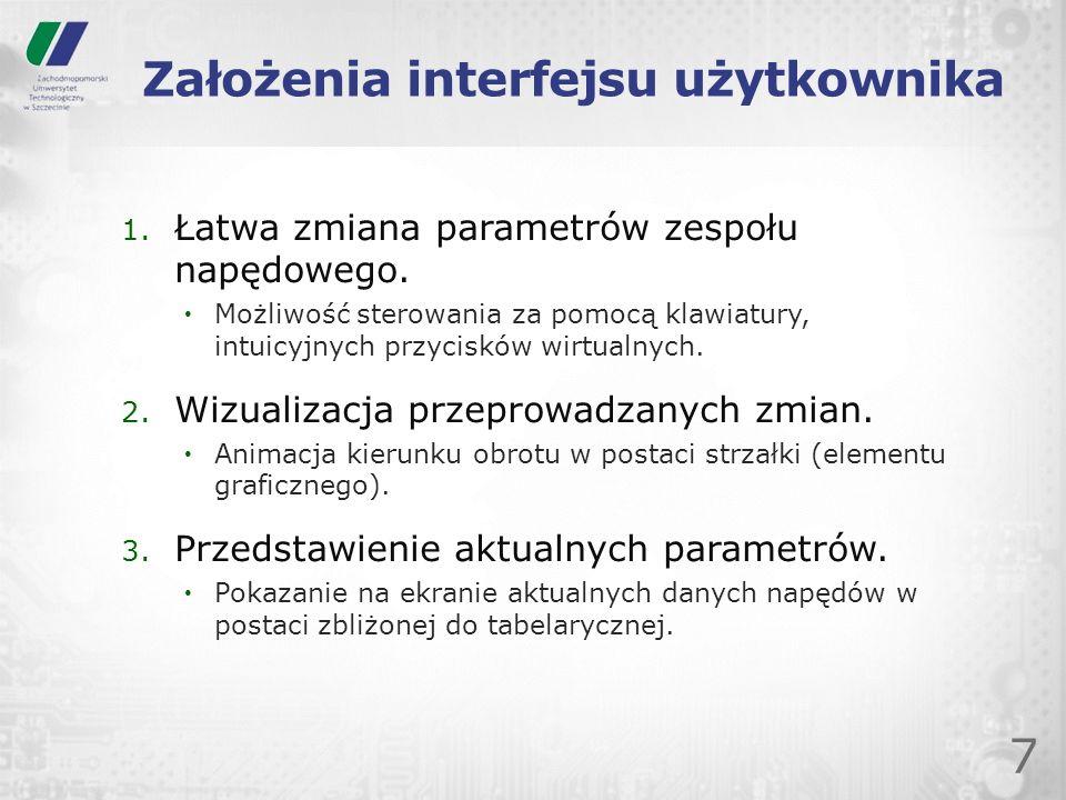 Założenia interfejsu użytkownika 7 1. Łatwa zmiana parametrów zespołu napędowego. Możliwość sterowania za pomocą klawiatury, intuicyjnych przycisków w