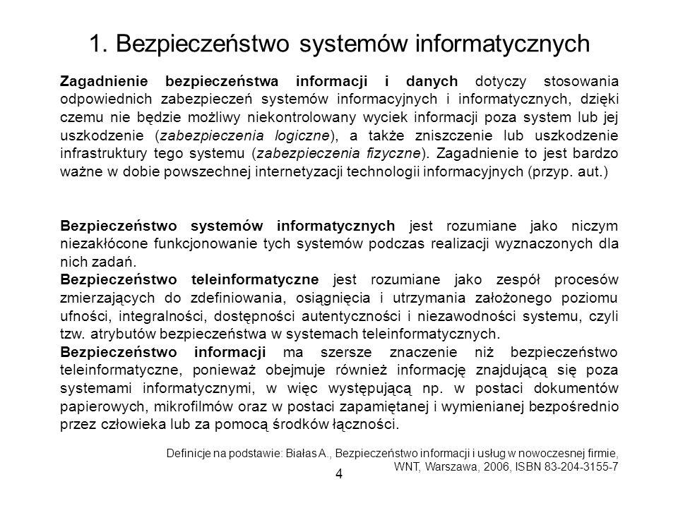 4 1. Bezpieczeństwo systemów informatycznych Zagadnienie bezpieczeństwa informacji i danych dotyczy stosowania odpowiednich zabezpieczeń systemów info