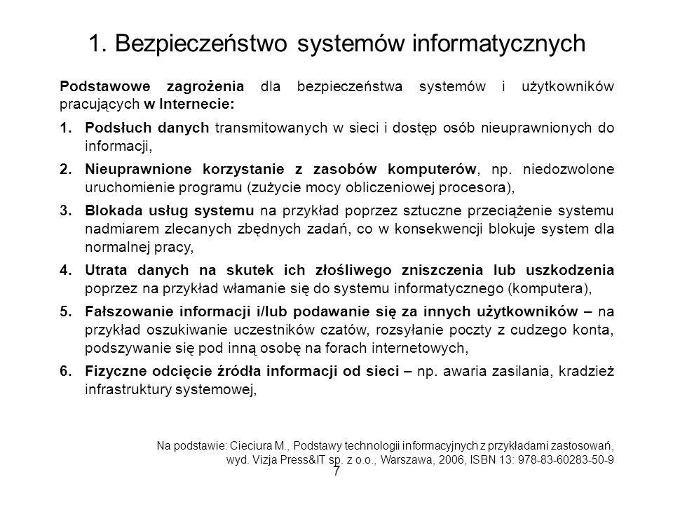7 1. Bezpieczeństwo systemów informatycznych Podstawowe zagrożenia dla bezpieczeństwa systemów i użytkowników pracujących w Internecie: 1.Podsłuch dan