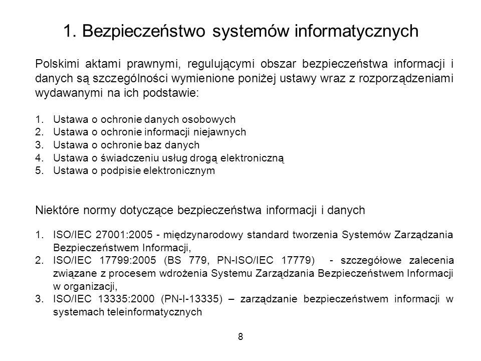 8 1. Bezpieczeństwo systemów informatycznych Polskimi aktami prawnymi, regulującymi obszar bezpieczeństwa informacji i danych są szczególności wymieni