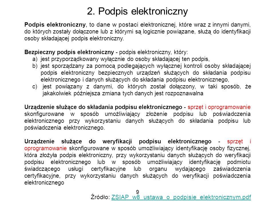 9 2. Podpis elektroniczny Podpis elektroniczny, to dane w postaci ele ktronicznej, które wraz z innymi danymi, do których zostały dołączone lub z któr