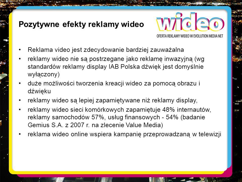 Pozytywne efekty reklamy wideo Reklama video jest zdecydowanie bardziej zauważalna reklamy wideo nie są postrzegane jako reklamę inwazyjną (wg standar