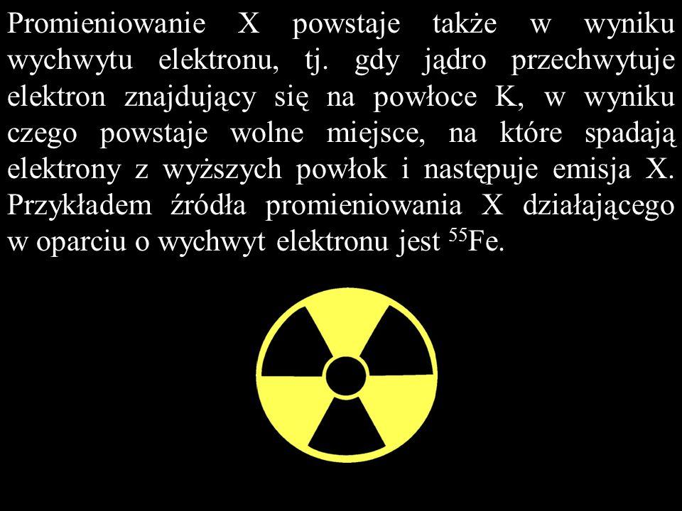 Promieniowanie X powstaje także w wyniku wychwytu elektronu, tj. gdy jądro przechwytuje elektron znajdujący się na powłoce K, w wyniku czego powstaje