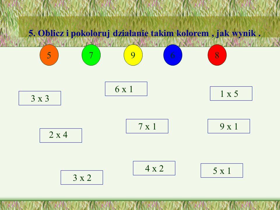 4. Pokoloruj płatki koniczynki na zielono, jeżeli wynik mnożenia jest zgodny z liczbą umieszczoną w środku. 8 4x2 8x1 1x8 2x4 10 10x1 1x10 5x2 2x5 6 3