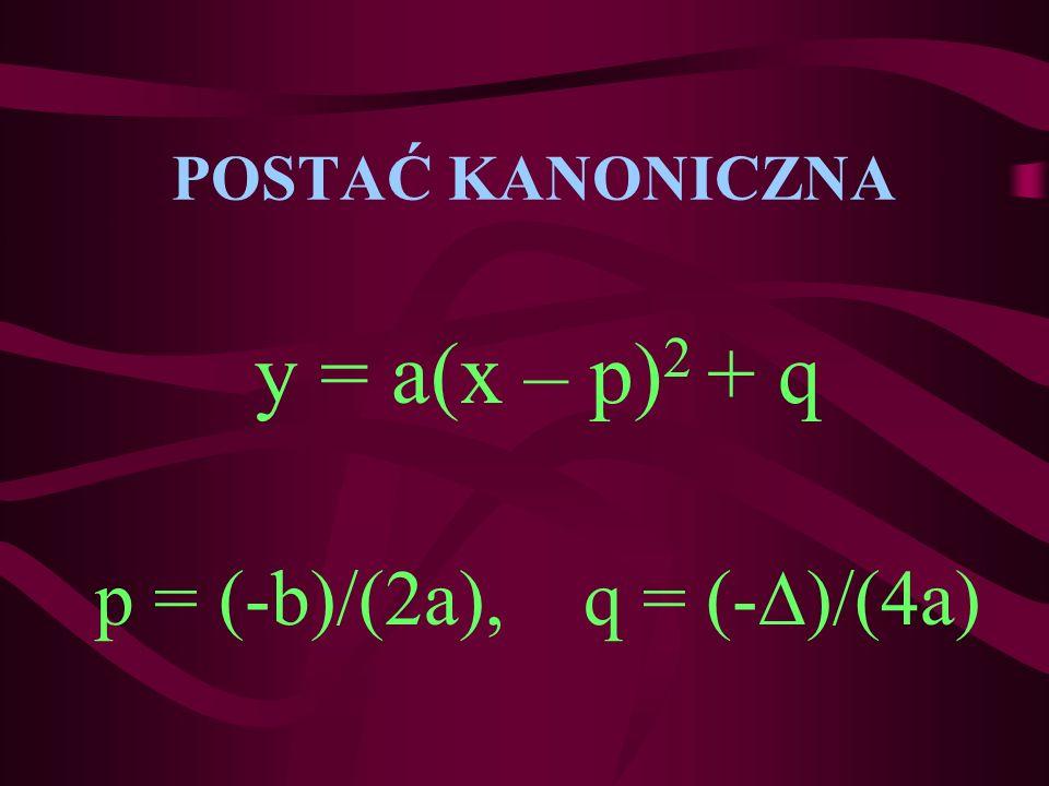 POSTAĆ KANONICZNA y = a(x – p) 2 + q p = (-b)/(2a), q = (- )/(4a)
